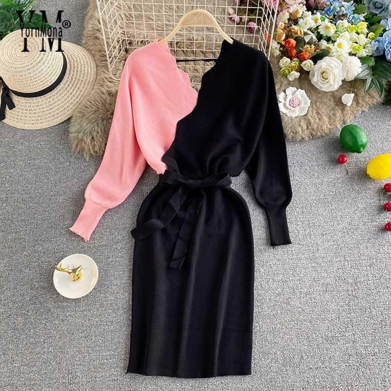 YornMona Ins cores da moda Knit Mulheres Vestido 2020 Outono Inverno elegante Batwing Sleeve V-neck Sweater Dress Ladies Escritório