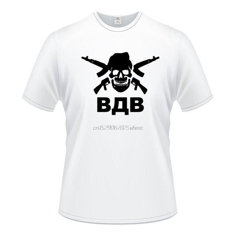 Novidade russos crânio VDV Ak-47 Masculino Camisetas Projeto engraçado do Printing Top Tees personalizado
