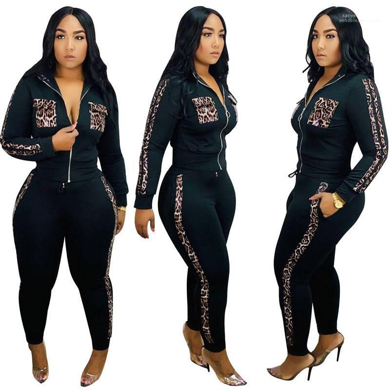Леопардовый женщин костюмы Кардиган Щитовые женщин Спорт 2Pcs Набор моды Gym Открытый Womens Одежда