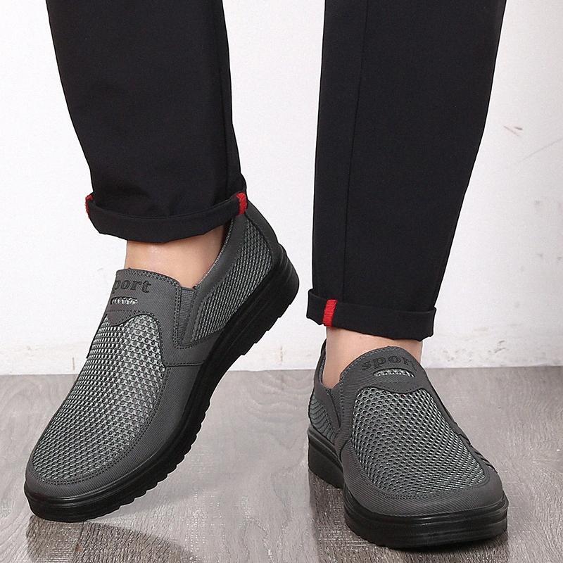 Zapatos de moda de verano los hombres ocasionales de los zapatos del aire de malla grande Tamaños 38 48 Ligera y transpirable deslizamiento en los Pisos Chaussure Homme xBr8 #