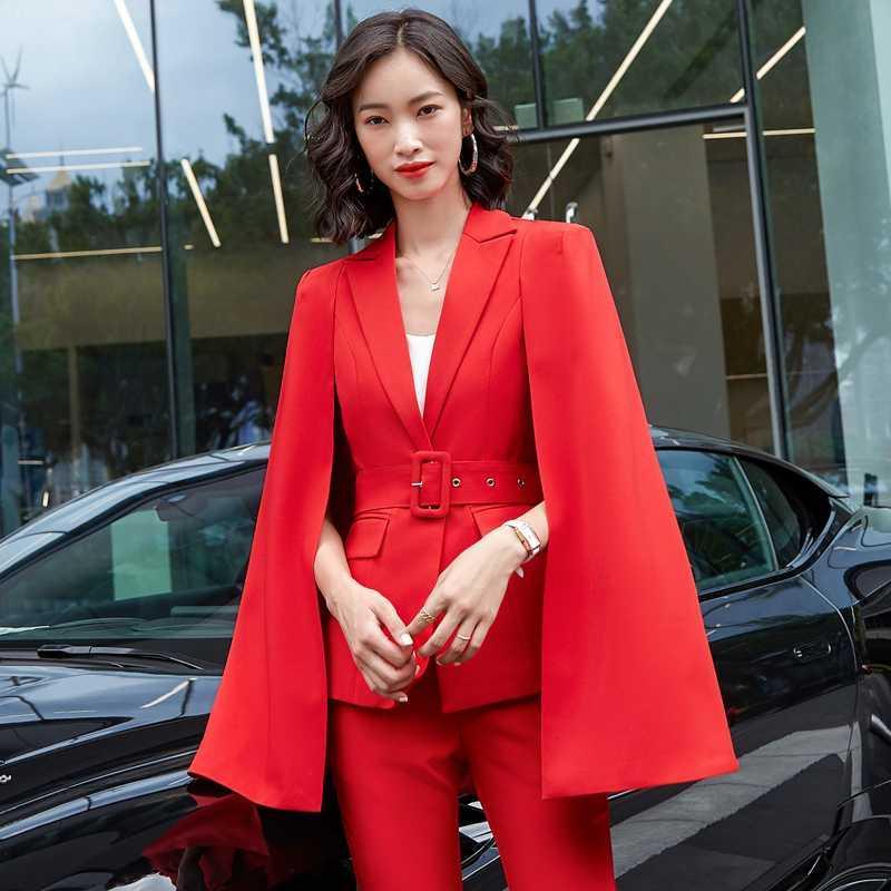 2020 Herbst-Winter-Mode Stile Formal Women Business-Anzüge Damen Büro Pantsuits Berufsschuhe Blazer Set Red