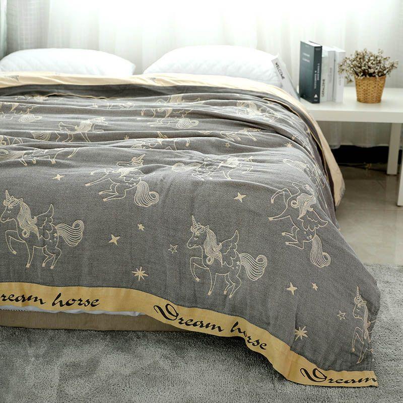 Cobertor de verão de algodão para cama fina Quilt por King Size Gauze acolchoado Throw cobertores Colcha Sofá cama capa