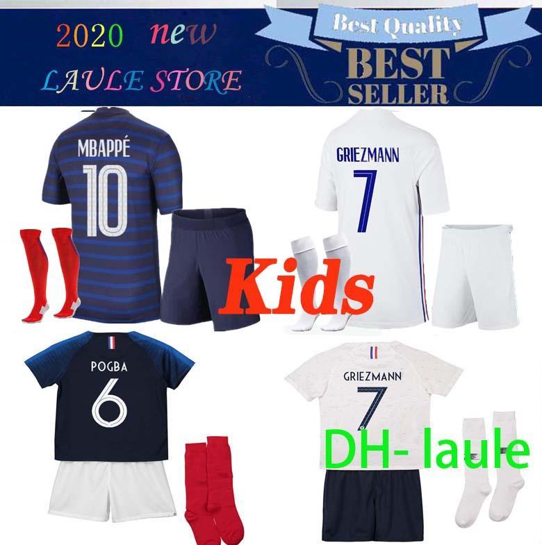 2020 2021 Francia Niños camiseta de fútbol Mbappé Griezmann KANTE Pogba maillot de pie EURO 20 2021 kits para niños ponen camisetas de fútbol Uniforme jóvenes