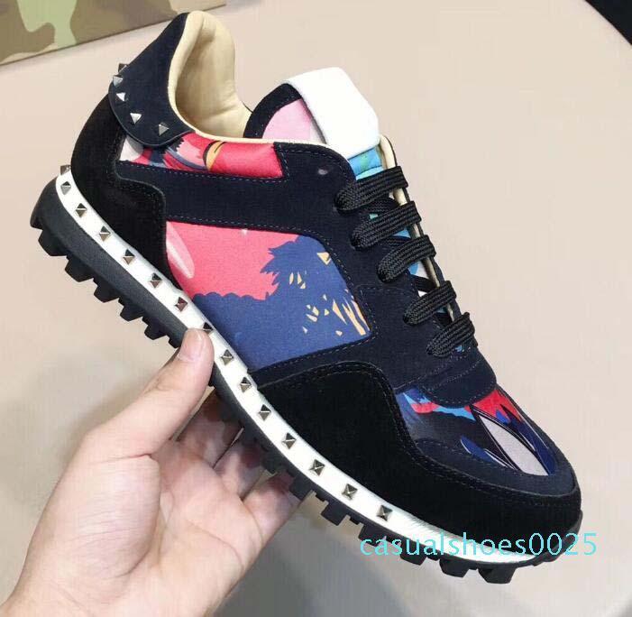 Yeni ayakkabılar Moda Studed Kamuflaj gündelik ayakkabı ayakkabı Erkekler Kadınlar Flats Lüks Tasarımcı Rockrunner Eğitmenler Günlük Ayakkabılar