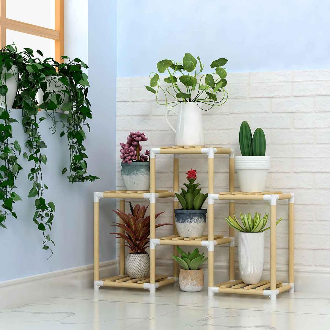 Multi-Nível Flower Stands Prateleiras de plantas de madeira Plantas Jardim rack de armazenamento Potes Organizador Prateleiras Titular de exibição para a decoração interior