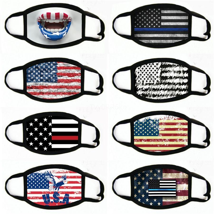 Yetişkinler için Amerikan Bayrağı Karikatür Baskı Yüz Maskeleri Unisex Yıkanabilir Yaz Ultraviyole-Dayanıklı Anti Toz Bisiklet Ağız-Kül # 779 Maske