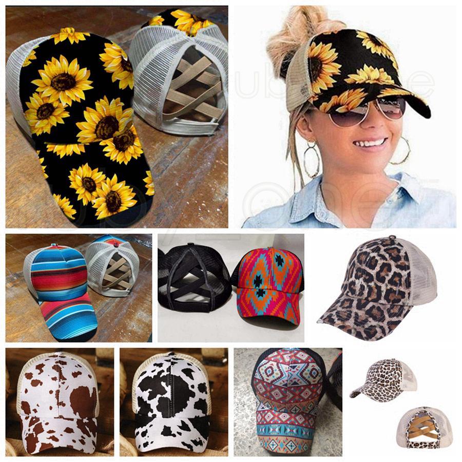 해바라기 야구 모자 포니 테일 야구 모자 크리스 크로스는 레오파드 무늬 메쉬 모자 스냅 백 파티 모자가 RRA3598 용품 트럭 운전사 모자를 씻어