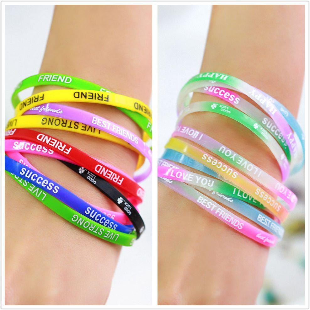 Best friend printed letters silicone Sports bracelets & bangles, fluorescent rubber Fitness bracelet for women