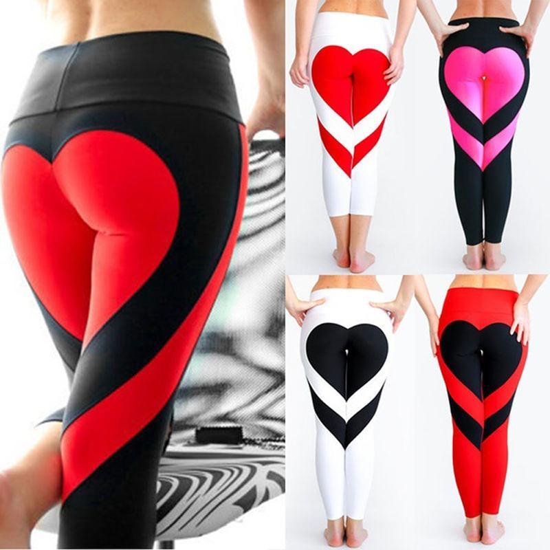 Новая мода женщины Специальный дизайн Любовь Йога Леггинсы Сердце Booty Брюки Идущие колготки Crop тренировки Брюки