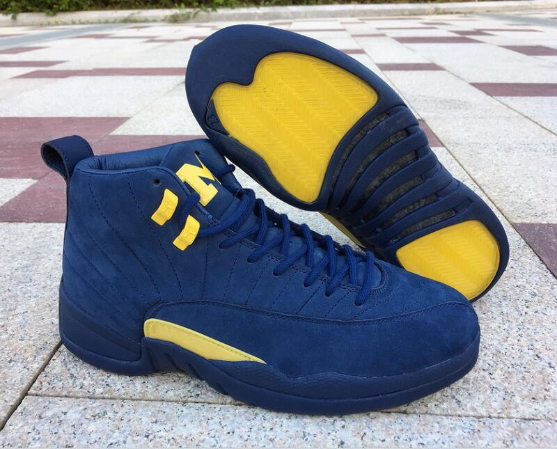 Best Qaulity 12 RTR Michigan NRG Basketball Shoes New Comfort XII College Navy Amarillo Fashion Sports Sneakers With Original Box