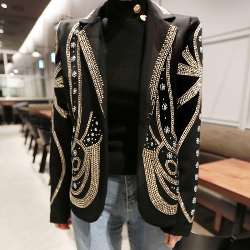 Femmes Vestes Perles de luxe Boutons élégants Blazers à manches longues Spring Femme Blazer Blazer Bureau Manteaux