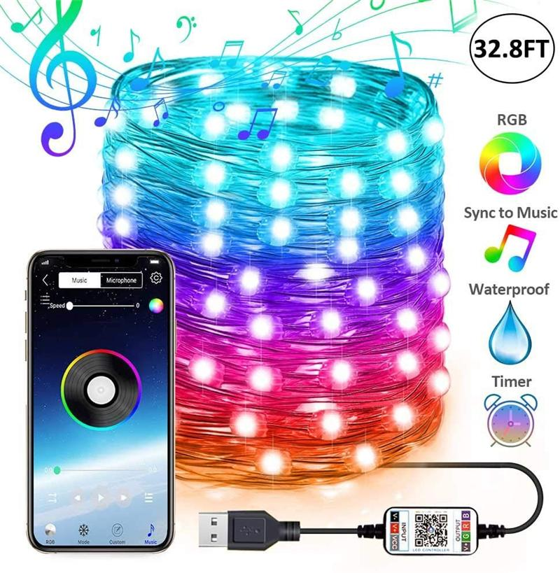 USB الجنية سلسلة أضواء الموسيقى مزامنة اللون rgb led قطاع بلوتوث التطبيق السيطرة النحاس الأسلاك سلاسل لعيد الميلاد حفل زفاف الديكور