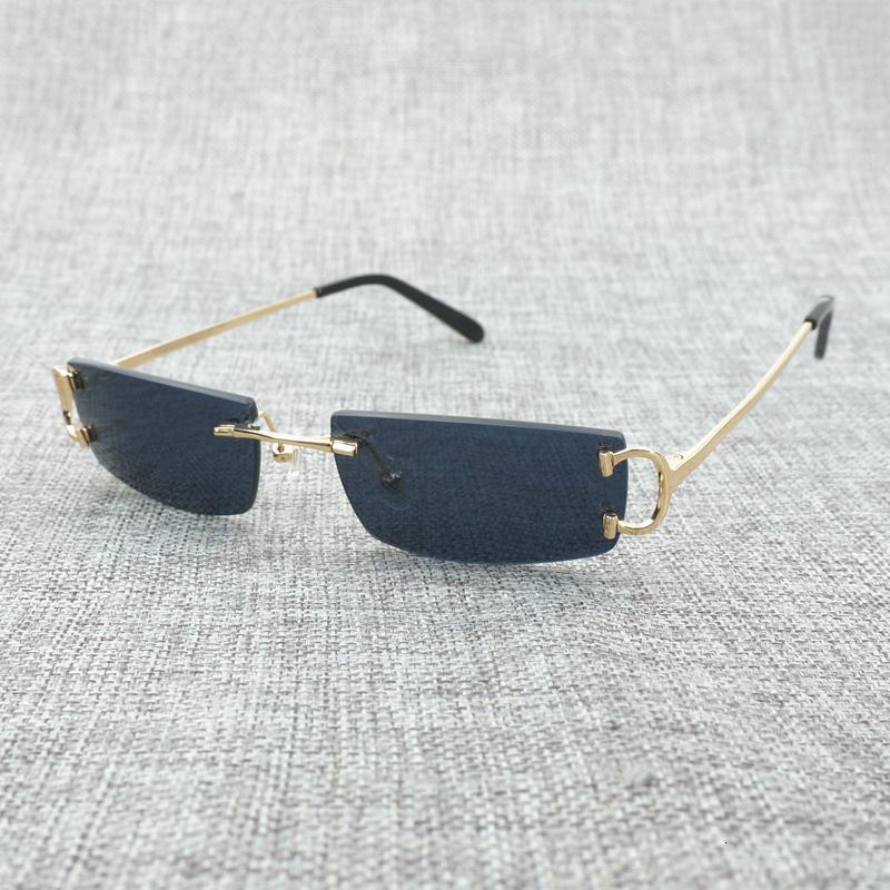 Vintage Piccolo vetri liberi dell'obiettivo Uomini Rimless c Filo da sole Oculos Piazza tonalità per le donne all'aperto telaio in metallo Occhiali