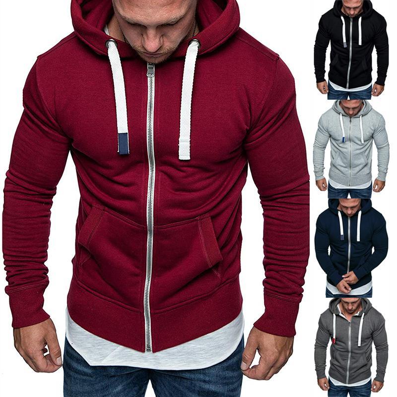 2020 Hombres Llanura Gimnasio Zip Up sudadera encapuchada sudaderas con capucha de la chaqueta Outwear T200914 Escudo