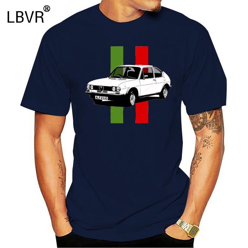 Мода Новые Лучшие Тис футболки ALFASUD итальянский флаг Mens 100% хлопка белого Tshirt -Personalised пластина доступна майка