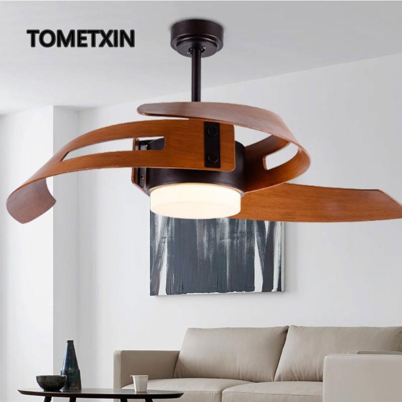 Ventilatori elettrici Ventilatore da soffitto da 52 pollici con luci di controllo remoto leggero per la lampada da casa lampada in legno design creativo camera da letto industriale vintage