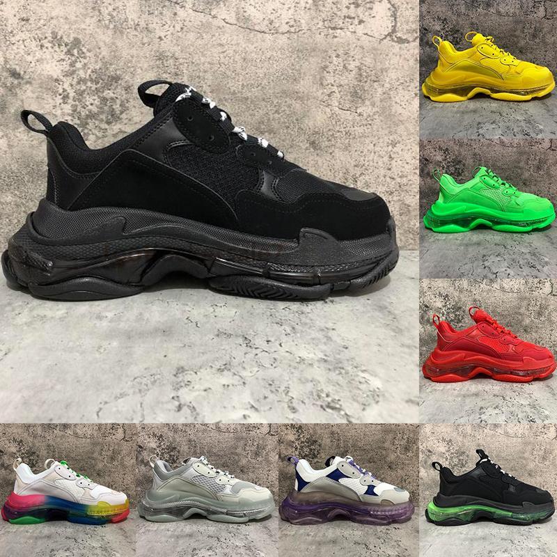 2020 Moda Luxe Kristal Alt Paris 17FW Üçlü S Mens Sneakers Baba Platformu Kadınlar Bayanlar Eğitmenler Temizle Sole Günlük Ayakkabılar Tripler Siyah
