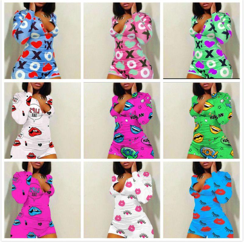 Designer Femmes Combinaisons Jumpsuit Pajama Onesies Nightwear PlaySuit Bouton Skinny Dessin animé Imprimer Pantalon Pantalon V-Cou Courtes OneSies Rompeurs C185