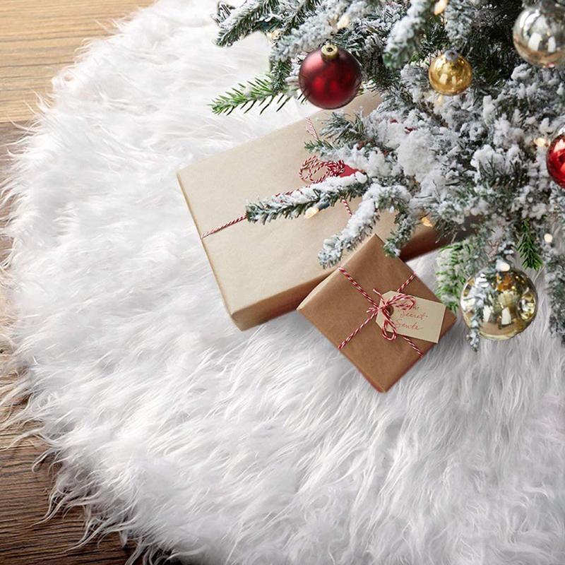 Christmas Tree Skirt White Faux Fur Carpet Xmas Tree Skirt Base Floor Mat Cover For Christmas Tree Decoration New Year Navidad