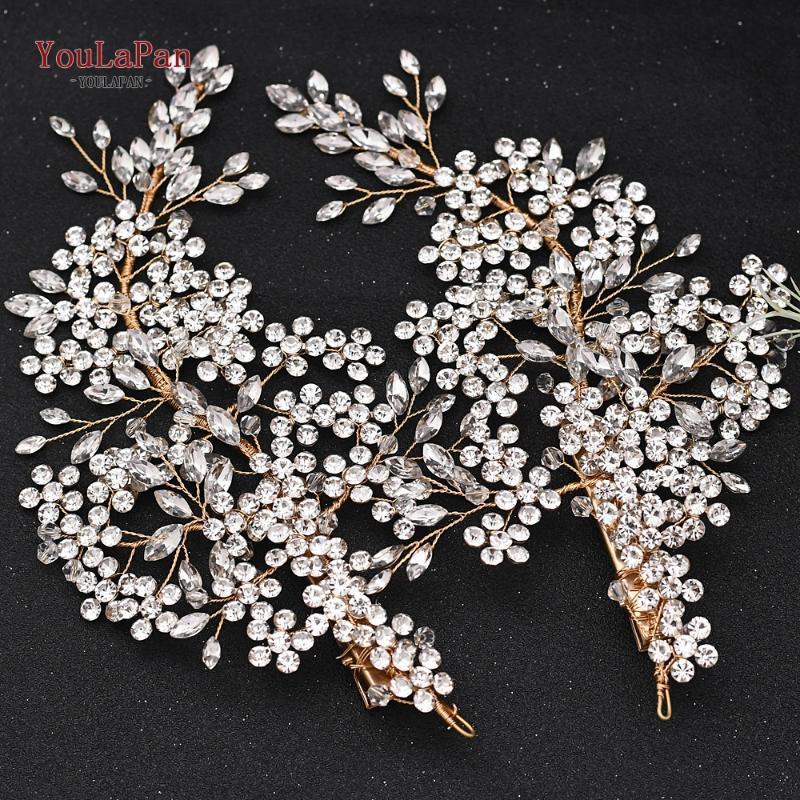 YouLaPan HP253-G 2PC d'or strass mariage bandeau Tiaras clip élégant fleur Coiffes de mariée mariage tiare