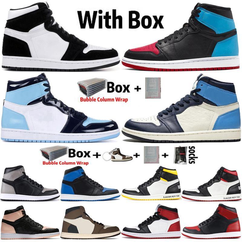 2021 Kutusu Jumpman 1 1 S Büküm UNC Chicago Erkek Basketbol Ayakkabıları Şanslı Yeşil Obsidiyen Travis Scotts Kadınlar Sneakers Eğitmenler Boyutu 36-47