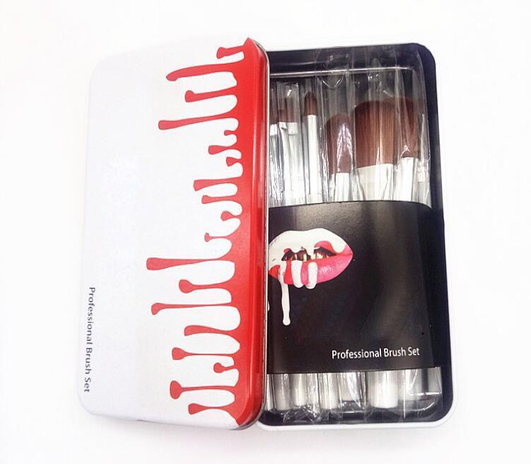 12 шт. Макияжные кисти наборы комплекты с металлической коробкой Бренд фондовый порошок тень для глаз макияж кисти Las Brochas de Maquillaje косметика