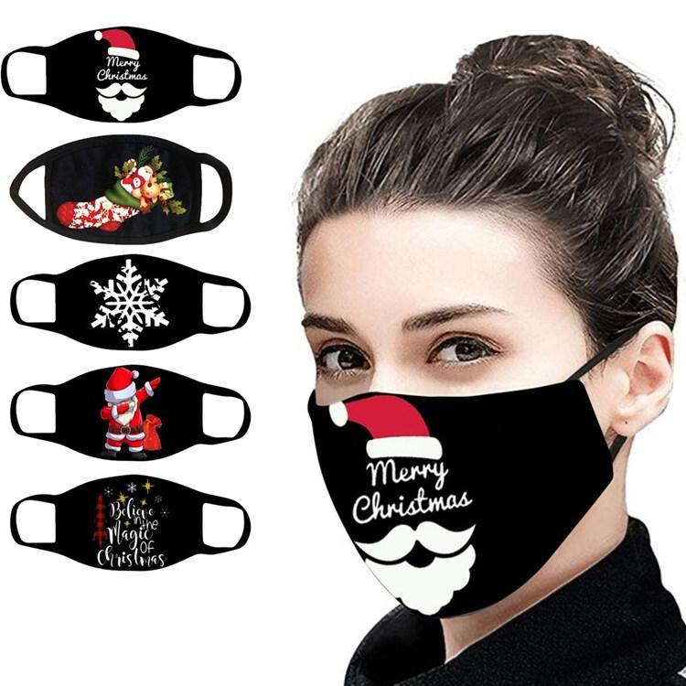 la máscara de Navidad a prueba de polvo de dibujos animados máscara de tela para adultos impresión lavado caliente de Navidad decoraciones máscaras de diseño 8style T2I51433