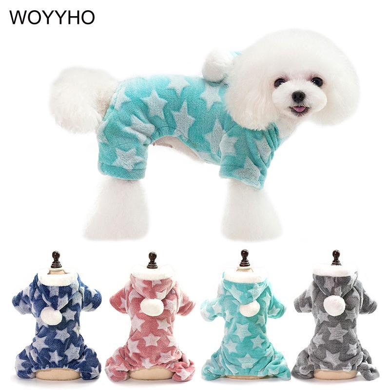 Inverno caldo animale domestico copre Per Small Medium cani Giacca felpata star pattern Quattro Gambe del gatto del cucciolo all'aperto tuta
