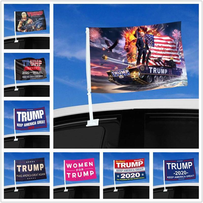 أعلام نافذة السيارة ترامب العلم معلق 45 * 30CM ديكور راية الحفاظ على أمريكا العظمى دونالد ترامب 2020 أعلام حملة للحصول على سيارة DHL شحن مجاني