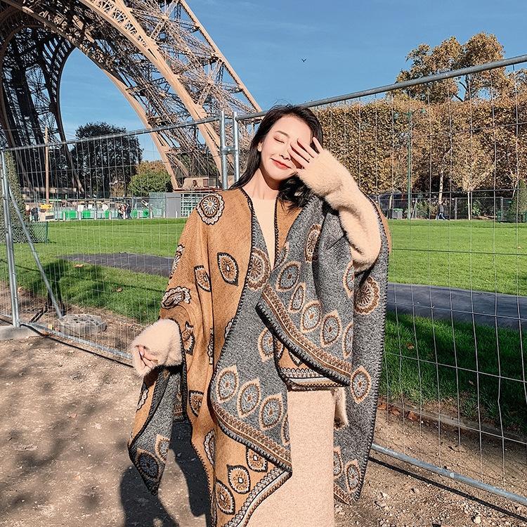 automne chaud nation nationalité écharpe et chaleureuse divisée châle style ethnique bureau de Voyage manteau d'hiver des femmes hiver g60cN Bohême