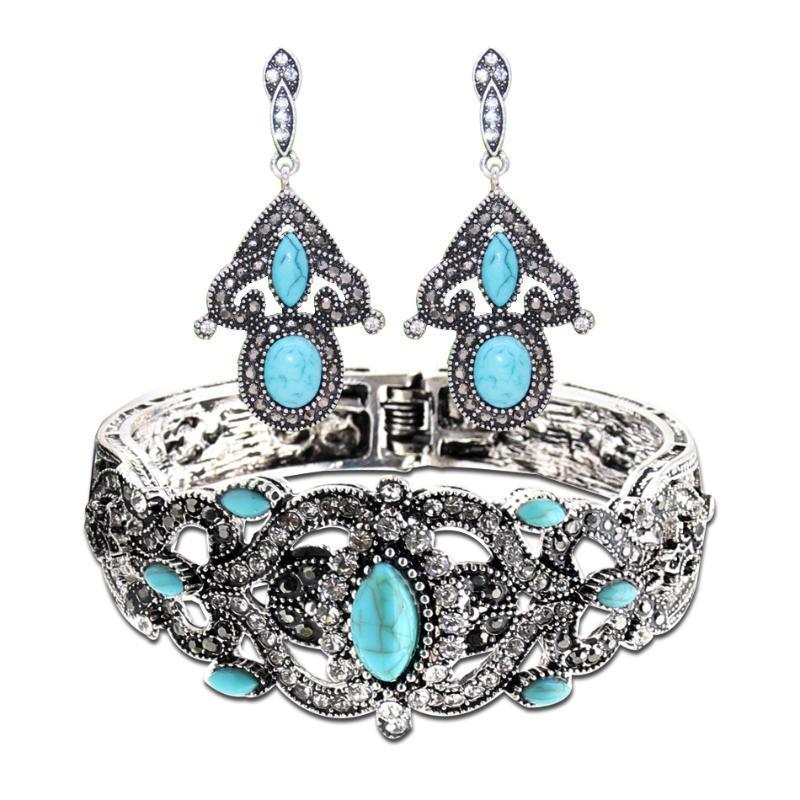 Bracciale in argento con pendente etnica Marocco Donne Cuff antico colore del fiore della cavità BRACCIALE Nostalgic gioielli Bijoux
