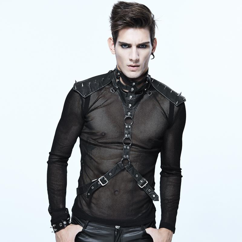 Gothic PU Leather Strap Collar Heavy Metal Black Close-Fitting Male Corset Neck Steampunk Accessory