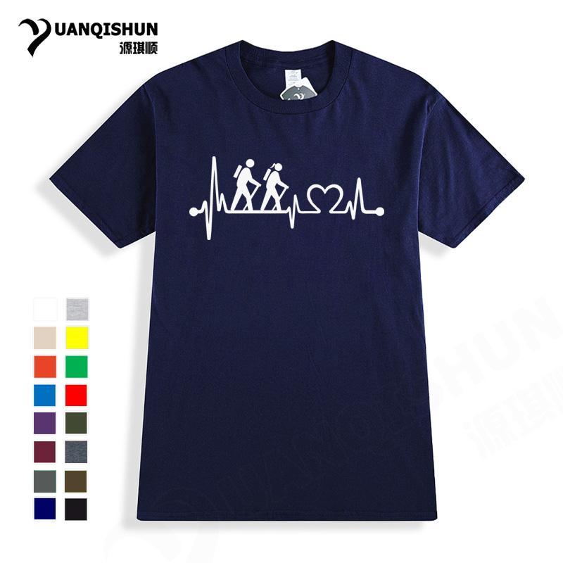 Забавный дизайн Hiker Пара Heart Rate Tshirt высокого качества 16 цветов с короткими рукавами Топы Tee унисекса Boutique Tshirt Harajuku