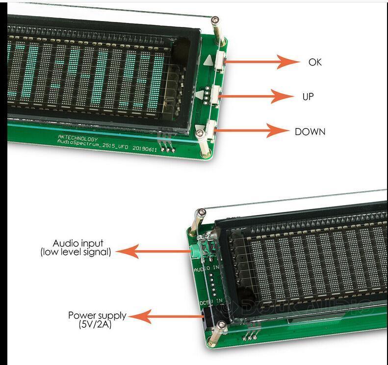 FreeShipping 1 VFD Music Audio Spectrum Indicator / Audio VU Meter/Amplifier Board Level /Precision Clock/Adjustable AGC Mode