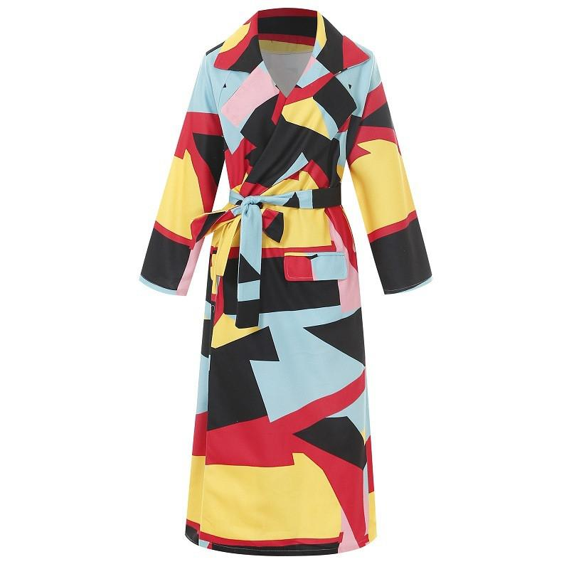 Зима Красочных печатей Пальто для женщин 2020 Мода Геометрических печатей длинной Сыпучей Шинели Femme с длинным рукавом пояс ветровки