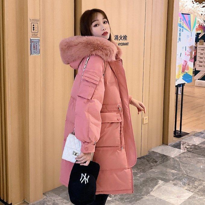 2020 neue Winter-Frauen Große, natürliche Pelzkragen mit Kapuze Mantel weiße Ente Daunenjacke weiblicher starke elastische Taille Langen Parka S139