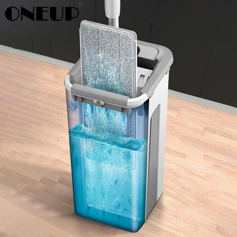 BAISPO Plano Squeeze Handle Mop e Bucket Free Hand Wringing Início cozinha laminado de madeira de cerâmica ferramentas de azulejos de limpeza T200628