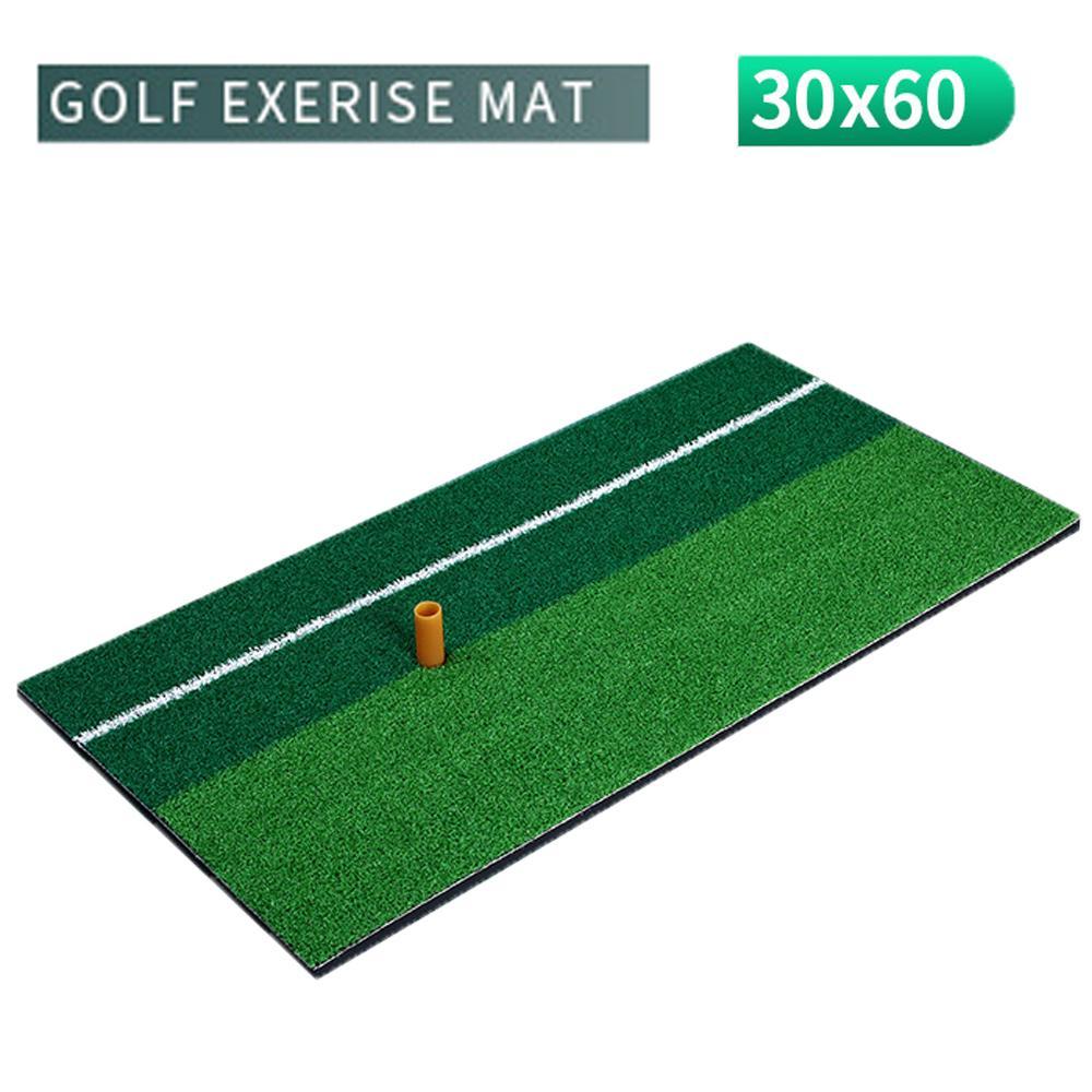 Indoor Golf Practice Mat Training Hitting Pad Practice Grass Mat Grassroots Green Golf Tools Backyard 30x60cm With Rubber Tee