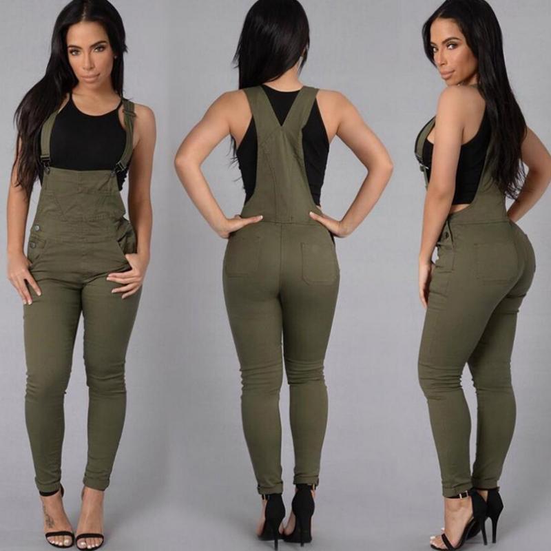 Le donne tuta del denim a vita alta elastiche pagliaccetto Jeans Button Pocket aderente pantaloni lunghi di un pezzo dei jeans sexy salopette di denim