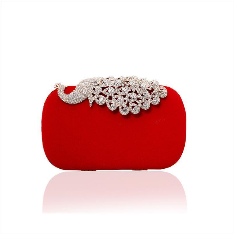 DAIWEI Kadınlar Rhinestone Akşam Debriyaj Çanta Bayanlar Kırmızı Debriyaj Cüzdan Çanta Gelin Düğün Çanta