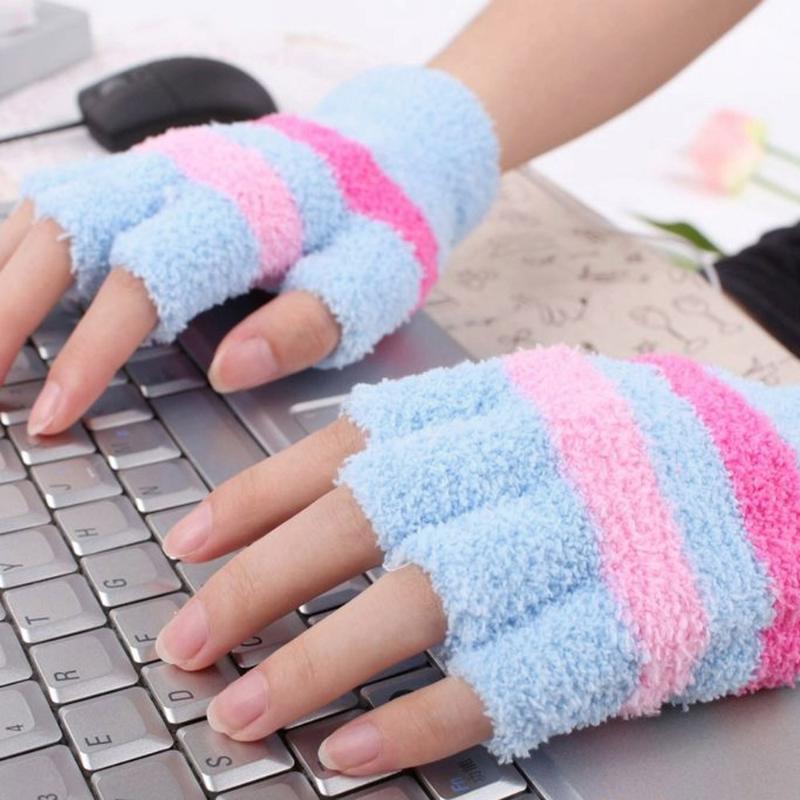 Пять пальцев перчатки женские USB нагрев мода зимняя рука теплый мягкий нагретый половина пальцев без пальцев без пальцев без пальцев варежки на открытом воздухе # 45