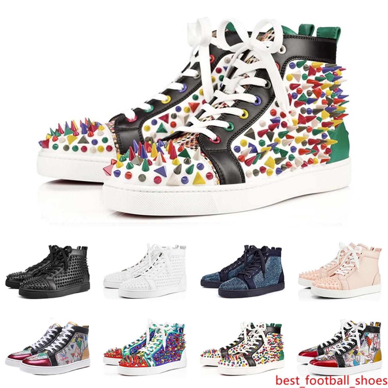 2019 de la moda de lujo diseñador zapatos inferiores del rojo zapatillas de deporte tachonado remache Spikes de pisos para los amantes del partido de las mujeres de los hombres ocasionales zapatilla de deporte