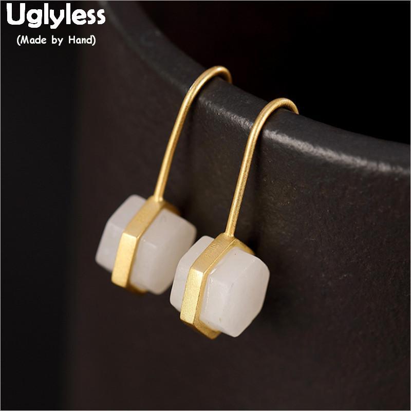 Pendientes Hexágono Uglyless Facetas de la Mujer Simplificar geométrica pendientes de jade de oro real 925 joyería de plata finos minimalista E1334