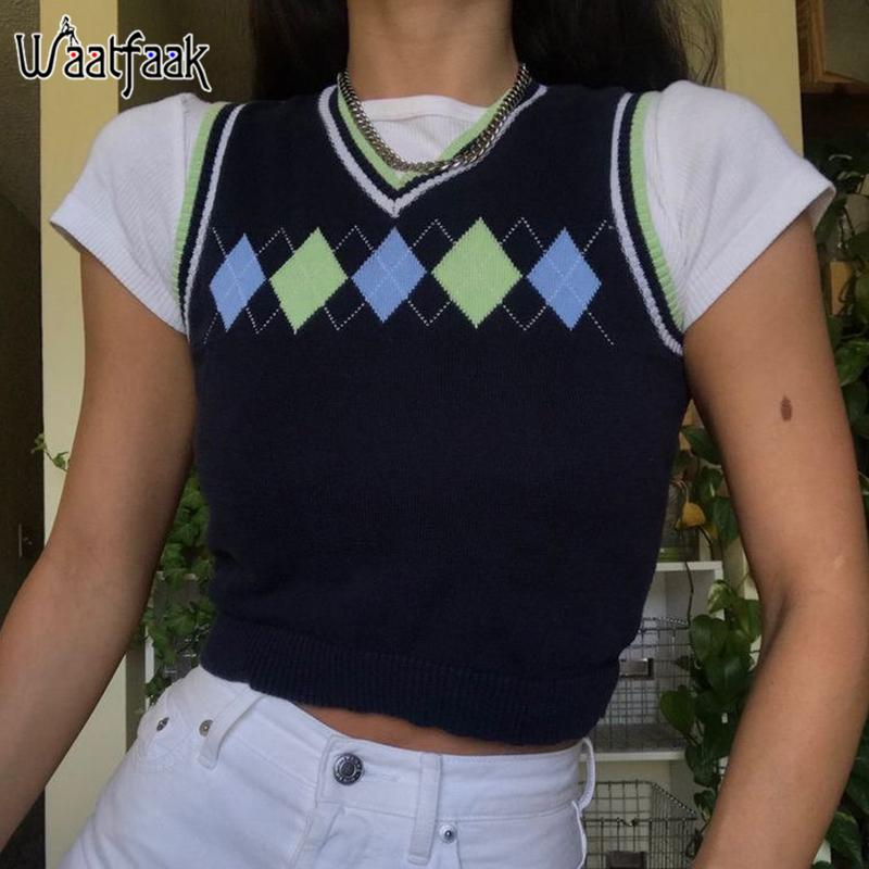Argyle Grafik Siyah Triko Yelek Kadınlar Şık Kış Kolsuz 90'ların Estetik Triko Örme Vintage O Boyun Crop Top Y2K Casual 200924