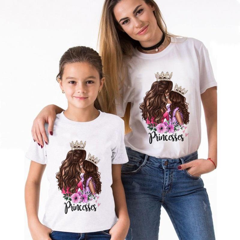 Красивая майка мама и дочь платье Супер мама Vogue Весна Лето Baby Girl Одежда Семья Look Нижнее Графические футболки
