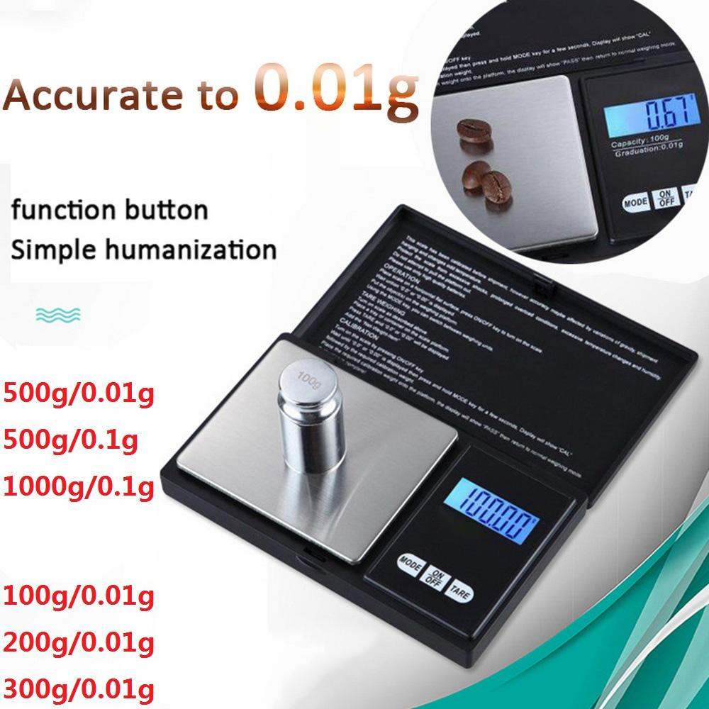 100/200 / 300 / 500g x 0.01g 1000g x 0.1 escala de bolso digital escala de jóias precisa escala de cozinha de alta precisão
