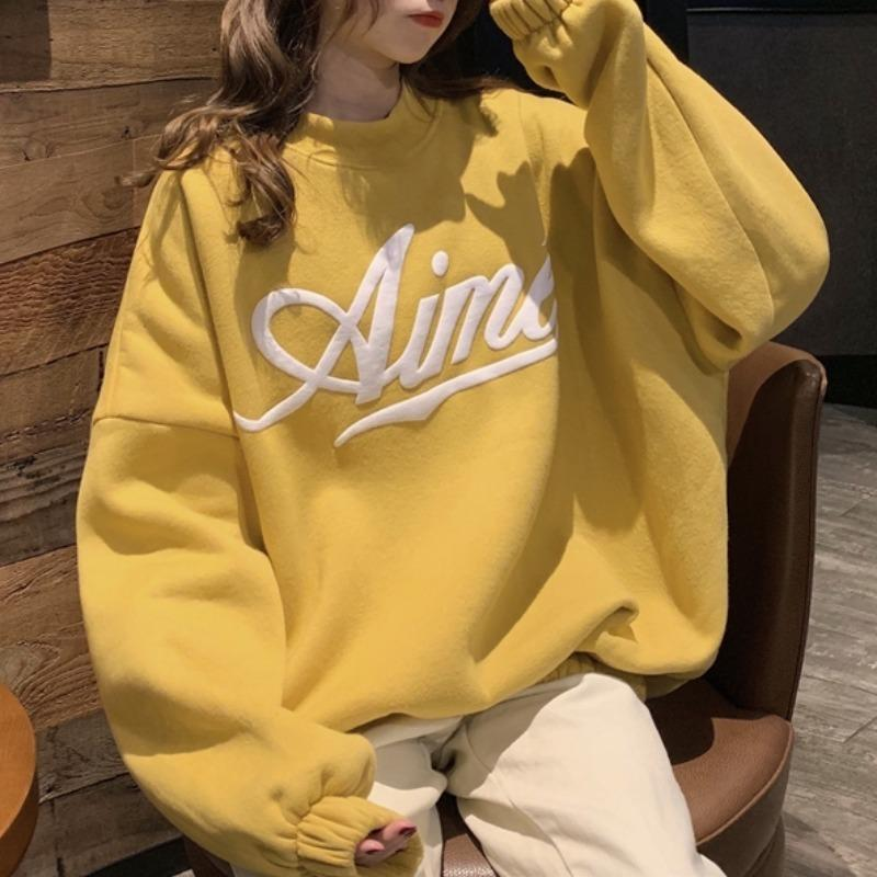 Thick Frauen-Sweatshirt Letter Print Halb hohe Kragen lose beiläufige Pullover 2020 Herbst Winter neue koreanische Art-Female Hoodies 0916