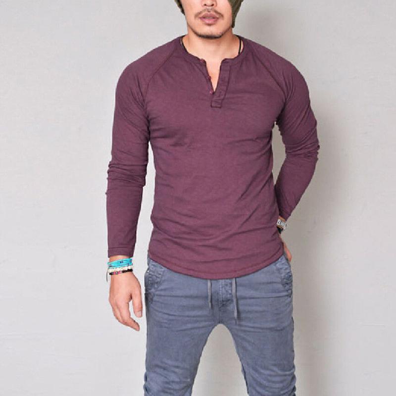 أزياء الرجال صالح سليم V الرقبة كم طويل العضلات المحملة تي شيرت قمم عارضة بلوزة