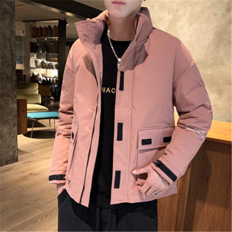 Coats Fashion Trend coreana Style Slim con cappuccio della tuta sportiva con la chiusura lampo Pocket Designer caldo i vestiti di cotone con cappuccio Giacche lunga da uomo manica
