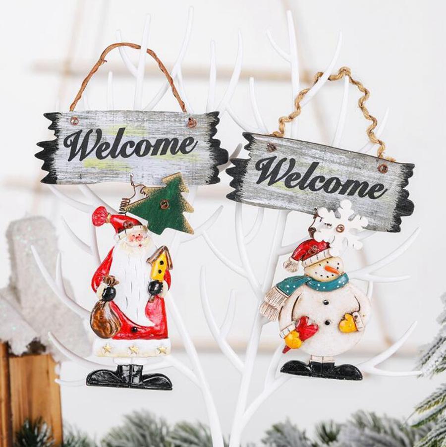 عيد الميلاد جدار الباب إكليل عيد الميلاد زينة مرحبا بكم سانتا ثلج زاوية شرفة مغطاة تعليق كارتون أرقام باب هانغ اكليل OOA9045